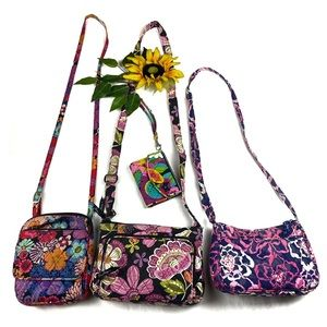 Vera Bradley Floral Crossbody Shoulder Bag Zip